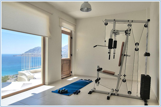 Plakias hill mansion workout room